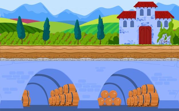 Ilustração do vetor de armazenamento de vinho.