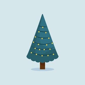 Ilustração do vetor de árvores de natal. árvores de natal verdes com decoração de festão do feriado. abeto de inverno perene sparcle.
