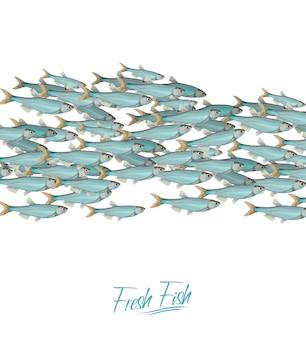Ilustração do vetor de cardume de peixes abundância de arenque ou bacalhau se movendo no mar