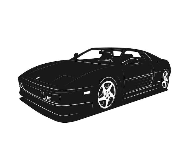 Ilustração do vetor de carro esporte. silhueta em preto e branco. veículo de luxo rápido e potente. modelo de logotipo, impressão de camiseta, sinal do auto clube.