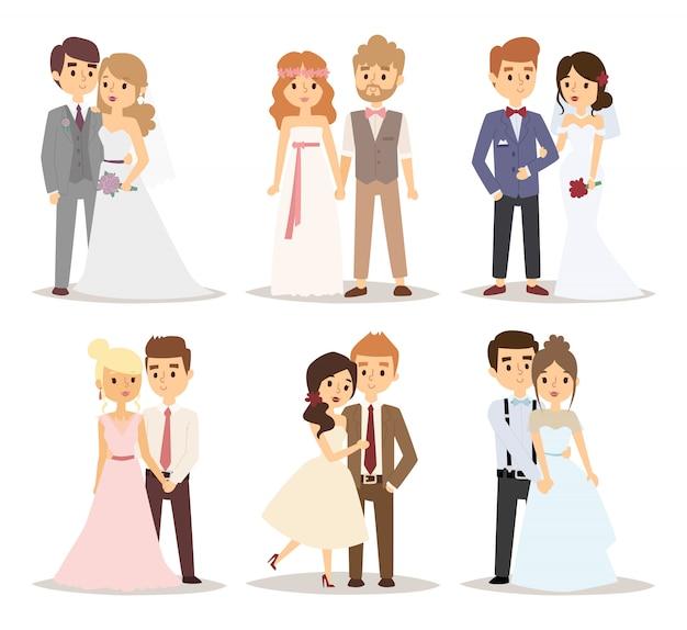 Ilustração do vetor de casal de noivos