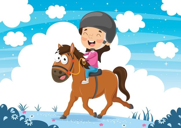 Ilustração do vetor de cavalo de equitação da criança