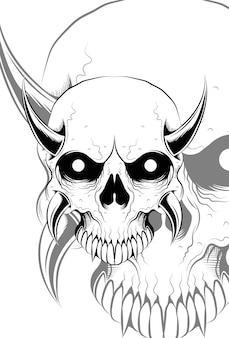 Ilustração do vetor de caveira com demônios
