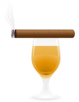 Ilustração do vetor de charuto e bebidas alcoólicas