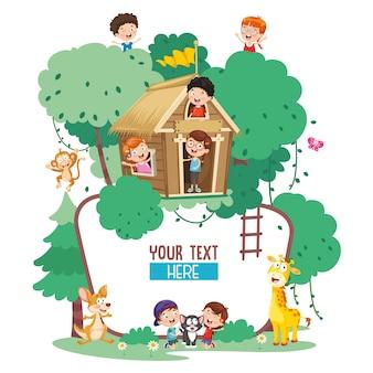 Ilustração do vetor de crianças e animais