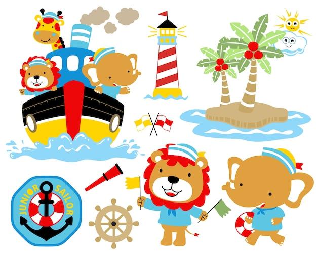 Ilustração do vetor de desenhos animados ajustados do tema da navigação.