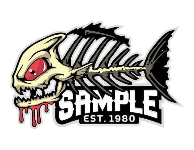 Ilustração do vetor de desenhos animados de ossos de peixe com raiva