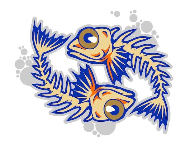 Ilustração do vetor de desenhos animados de ossos de peixe engraçado