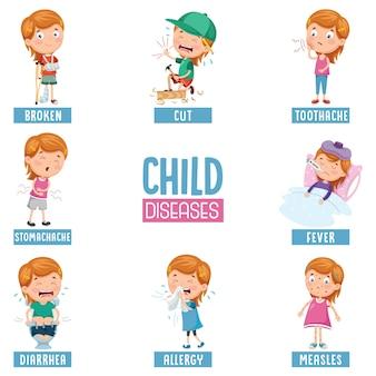Ilustração do vetor de doenças da criança