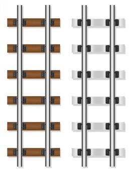 Ilustração do vetor de dormentes de madeira e concreto de trilhos de trem