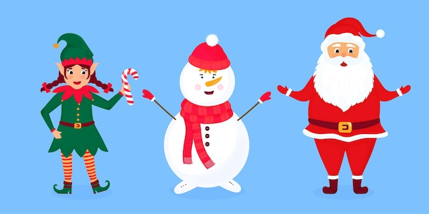 Ilustração do vetor de duende de natal, papai noel e boneco de neve.