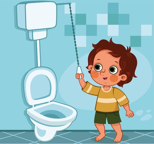 Ilustração do vetor de educação para crianças no banheiro