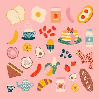 Ilustração do vetor de elementos de café da manhã fundo e papel de parede de alimentos