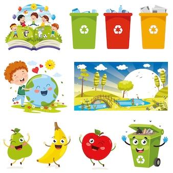 Ilustração do vetor de elementos do ambiente