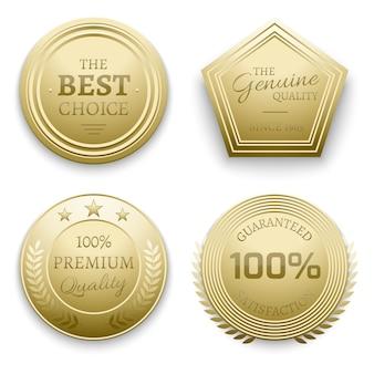 Ilustração do vetor de emblemas de metal ouro polido