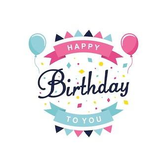 Ilustração do vetor de feliz aniversário. texto de feliz aniversário com balões. eps10