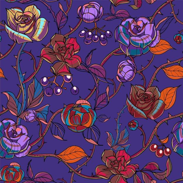 Ilustração do vetor de flores, rosas e ramos de padrão sem emenda