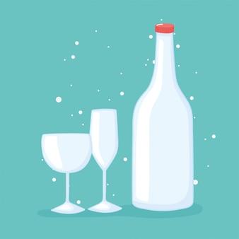 Ilustração do vetor de garrafas de copos de plástico ou de vidro, garrafa de vidro e copos de vidro
