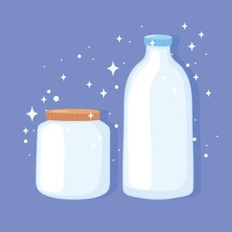 Ilustração do vetor de garrafas de copos de plástico ou vidro, garrafa de vidro e frasco com tampas