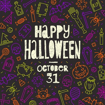 Ilustração do vetor de halloween saudação desenhada à mão em um fundo com símbolos de contorno de halloween