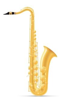 Ilustração do vetor de instrumentos musicais de sopro de saxofone