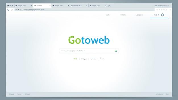 Ilustração do vetor de interface do usuário de janela de modo de luz do navegador da web com um aplicativo de navegador de amostra