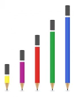 Ilustração do vetor de lápis apontados