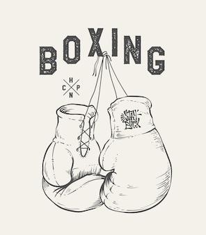 Ilustração do vetor de luvas de boxe. imprimir t-shirt de design.