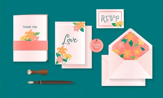Ilustração do vetor de maquete de cartões de convite