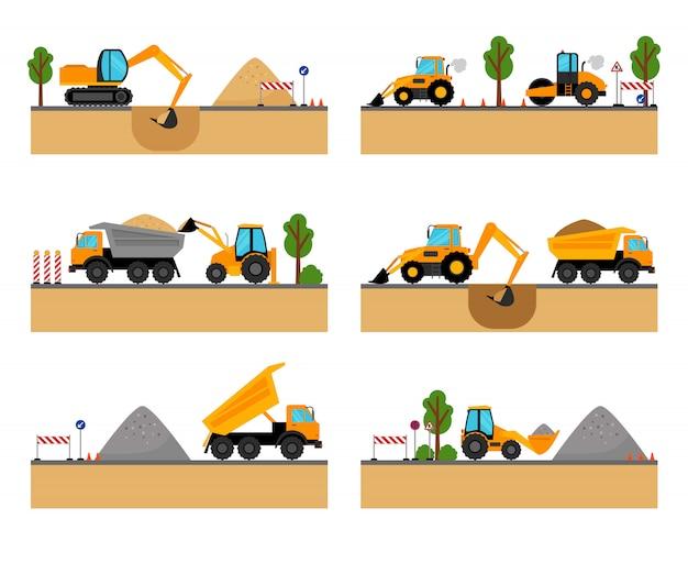 Ilustração do vetor de maquinaria de local de construção