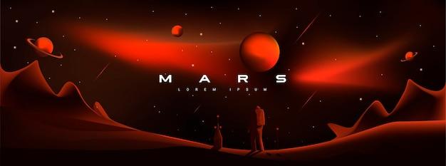 Ilustração do vetor de marte. paisagem marciana, astronauta pousando no planeta. planetas saturno e júpiter, exploração planetária, colonização, vermelho agressivo, planeta militante marte.