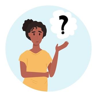 Ilustração do vetor de mulher pensativa. pensando ou tomando decisões em estilo cartoon. emoções de surpresa e perplexidade
