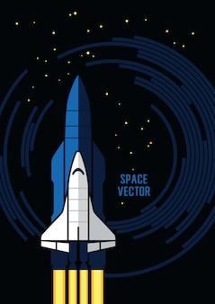 Ilustração do vetor de ônibus espacial e foguetes