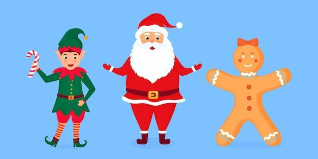 Ilustração do vetor de papai noel, elfo e homem-biscoito.