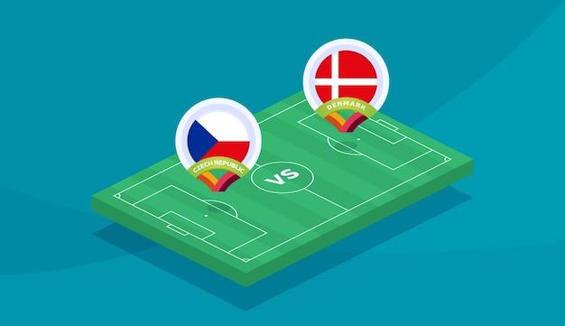 Ilustração do vetor de partida república tcheca vs dinamarca campeonato de futebol 2020