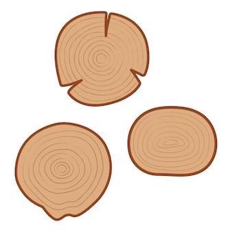 Ilustração do vetor de peças de laje de madeira redonda com anéis