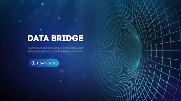 Ilustração do vetor de ponte de dados. big data de tráfego e visualização de dados. fundo de tecnologia digital de rede de comunicação.
