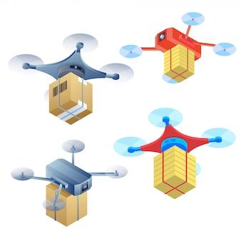 Ilustração do vetor de quadcopter em quatro estilos diferentes.