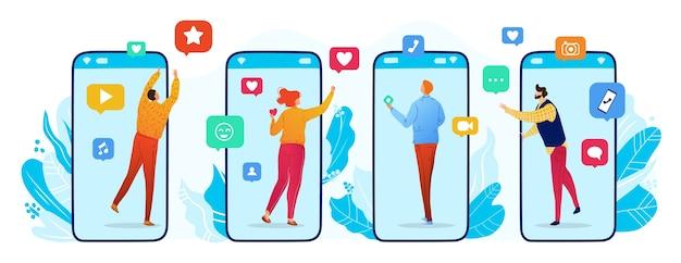 Ilustração do vetor de redes sociais. desenhos animados de personagens de usuários de homens e mulheres na tela do smartphone se comunicando com amigos no bate-papo