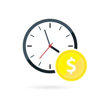 Ilustração do vetor de relógio e moedas tempo é dinheiro economizando dinheiro, investimento financeiro de longo prazo