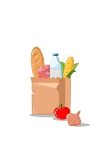 Ilustração do vetor de sacolas de papel de supermercado