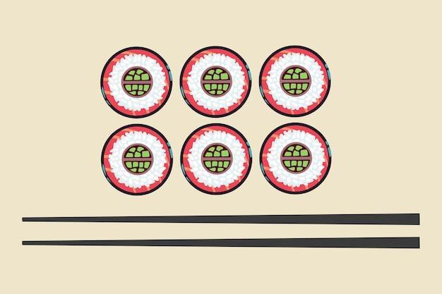 Ilustração do vetor de sushi e pauzinhos