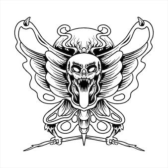 Ilustração do vetor de tatuagem de caveira de borboleta