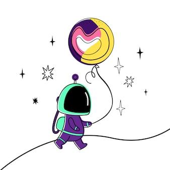 Ilustração do vetor de um astronauta e de um planeta.