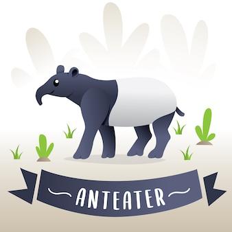 Ilustração do vetor de um tamanduá. animal de desenho para crianças, tamanduá de desenhos animados - ilustração vetorial