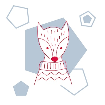 Ilustração do vetor de uma camisola bonito da raposa.