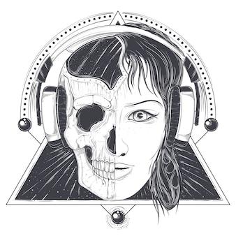 Ilustração do vetor de uma cara de mulher e crânio, modelo de tatuagem
