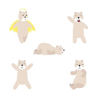 Ilustração do vetor de urso polar. urso em fundo branco