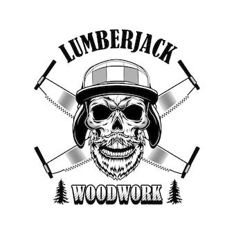 Ilustração do vetor de woodsman. cabeça de esqueleto no chapéu do inverno, serras cruzadas e texto em madeira. trabalho de madeira ou conceito de artesanato para logotipo