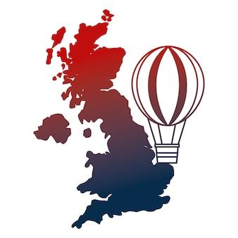 Ilustração do vetor do balão de ar quente do mapa do reino unido